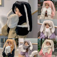 Hats, Scarves & Gloves Sets Skin-friendly Ear Scarf Sweet Small Fresh Warm Three-piece Suit Solid Color 3 In 1 Plush Cap