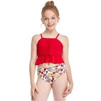 Kinder Mädchen Badeanzug Zwei Stück Kinder Bademode Tankini 5-12 Jahre Bikini Set Ruffle Junge Mädchen Badeanzug Beachwear Einteilige Anzüge