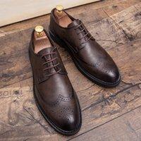Misalwa Plus Taille 38-47 Hommes Brogue Fashion Oxford Robe Chaussures Mâle Habillée Messieur Footwear à la main pour hommes modernes 210310
