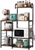 Cuffia da cucina con ripiano alto, supporto per microonde industriale Stand Vintage Utility Storage Scaffale 3-Tier e 4 Tier Organizzatore multiuso 5 Ganci workstation