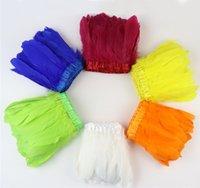 21 couleurs oie teintée plume frange garniture naturelle 10-15cm robe de mariée décoration couture coudre artisanat panache en gros