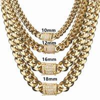 """8/10/12/14/16 / 18mm Joyería de moda 316L Tono de oro de acero inoxidable Miami Cuba Curb Link Chain Hombres Mujeres Collar 7-40 """"210426"""