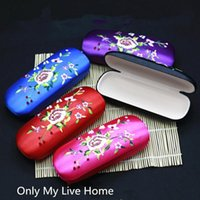 Gift Wrap Latest Embroidery Peony Flower Case Glasses Storage Box Women Fabric Eyeglasses Hard Jewelry Packaging