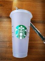 ستاربكس 24 أوقية / 710 ملليلتر بلاستيك بهلوان قابلة لإعادة الاستخدام شرب شرب مسطحة أسفل كوب عمود شكل غطاء القش القدح bardian dhl