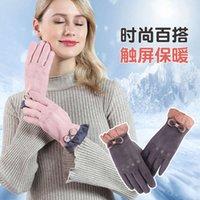 Теплые женские зимние милые японские и корейские замшевые ветрозащитные плюшевые сенсорные экраны Температура блокировки перчатки JP-01