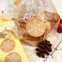 50Sets 명확한 비닐 봉지 캔디 롤리팝 쿠키 셀로판 가방 씰링 트위스트 넥타이 눈송이 스티커 토스트 빵 가방 Y0712