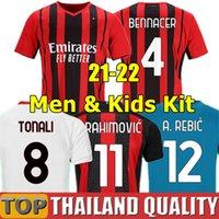 Tailândia 21 22 Fãs Versão do jogador AC milão IBRAHIMOVIC milan Camisetas de futebol 2021 TONALI Mandzukic conjunto de camisa de futebol Kessie brahim Homens kit crianças uniforme