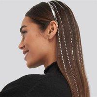 Full Rhinestone Larga Tassel Crystal Headpiece Hourpiece para las mujeres Bijoux Pelo Hoop Cadena de cabeza Accesorios de Cadena de Boda Hairband Partido Joyería Regalo