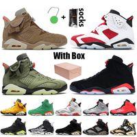 Stock x Nike Air Jordan 6 Jordan Retro 6 6s Travis Scott Jumpman Com caixa 2021 Carmine Mens Basketball Shoes Infrared Hare Tech Chrome Electric Green DMP Trainers Sneakers