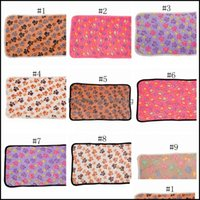 Kennels Dog Pet Supplies Home & Gardendog Blanket Paw Print Pens Beds Mats Small Dogs Warm Slee Bed Er Mat Fleece Soft Blankets 15 Designs D