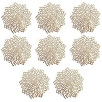 Mats & Pads 8 PCS Golden Round Placemat, PVC Cutout Table PlaceMat For Christmas, Wedding, Banquet, Restaurant, El