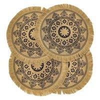 Mats Pads Placems redondos Conjunto de 4, mesa de yute tejida Boho con tasel de pompón para comedor decoración de cocina