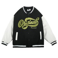 Men's Jackets Earth Embroidery Baseball Outerwear Mens Contrast Paneled Casual Sleeve PU Jacket Loose Patchwork Letterman Men