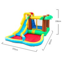 Garden Supplie Wild Jungle Palm Tree Inflatable Bouncer Water Slide For Kids Happy Hop Bouncy Slides Waters Park Kid Pool Bounce House Playhouse Gun Yard Party