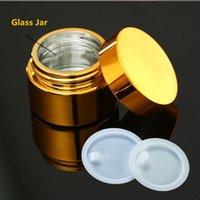 Depolama Şişeleri Kavanoz Yüksek Kalite, 5G 10G 30G 50G Boş UV Kaplama Altın Gümüş Cam Kozmetik Konteyner, Kapaklı Doldurulabilir Pot Kavanoz