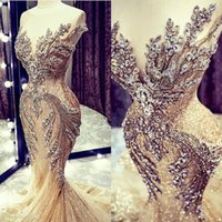 2020 Luxury Gold Evening Dresses Lace Crystal Beads Sequin Sweep Train Formal Bridal Pageant Prom Gowns Custom Made