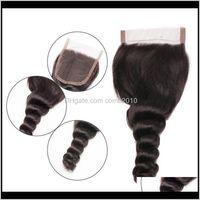 Brasilianisches Reines Haar Lose Welle Spitze Schließung Baby Haar Mittelteil Teil 3 Teil Silk Base 4 x 4 Spitze Top Verschluss F1Dts OPE3J