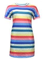 Случайные модные женщины платье лето новый сладкий короткий рукав женские платья экипажа шеи темперамент женские платья полоса