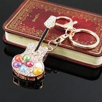 Keychains Sanyu Fashion Rhinestone Mini Guitars Crystal Keychain Cute Charm Car Bag Gadgets For Women Gift