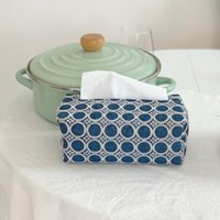 Boîtes de mouchoirs pour boîtes de papier Serviettes japonais en denim brodé boîte couvre-boîtes de bureau à domicile rangement modèle salle de restauration décorations