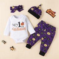 2021 New Halloween baby suit letter Top cartoon purple pants HAT + headband four piece set