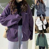 Women's Hoodies & Sweatshirts Women Autumn Streetwear Zip-Up Oversize Sweatshirt Jacket Trendy Pocket Turn-Down Collar Outwear