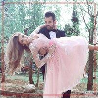 2020 billig pink kurze a linie cocktailkleider v ausschnitt spitze appliques schärpe lange sleeves knielang plus größe prom kurze kleid benutzerdefinierte oletw