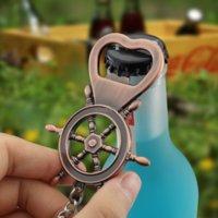 Yelkenli Dümen Şişe Açacağı Anahtar Yüzükler Metal Bronz Renk Yaz Bira Açacakları Anahtarlık Mutfak Bar El Aletleri Will ve Sandy