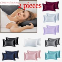 2pieces Lot A+ Silky Satin Skin Care Pillowcase Hair Anti Pillow Case Queen King Full Size Pillow Covers Multi Colors