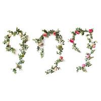 PCS 인공 유칼립투스 잎 작약 꽃 포도 나무 녹지 아이비 교수형 식물 swag 집 결혼식 벽 울타리 장식 장식 꽃 w