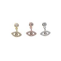 Sterling silver cute evil eye charm dangl earring elegance danity silver jewelry round cz eye drop elegance women dff1329