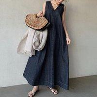 korean Dresses One Piece Denim Sundress Pullover Japanese Plain Style Summer Women Oversized Casual Maxi Jean Long Dress