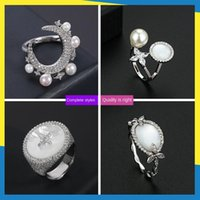Cluster Rings Mother-of-pearl Moon Pearl Diamond Ring Korean Wave Ins Simple Retro Fresh And Cute Women Can Wear Brand Jewelry