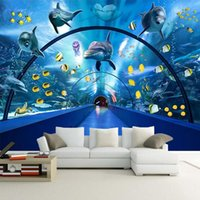 Wallpapers Custom Wallpaper Wall Painting Underwater World Dolphin Whale 3D Stereoscopic Creative Space Poster Decor Mural Papel De Parede