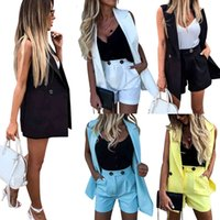 Women Two Pieces Take Vest And Shorts Set Effen Color Vest Jacket Single Button Yellow Mouthless Blazers With Shorts Suit