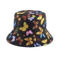 2021 Nueva Moda Mariposa Cubo Sombreros Panamá Beach Sun Hat Cap Summer Reversible Fisherman Hats Bob Hip Hop Gorros