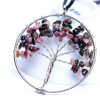 Tree of Life Pendant Multicolor Crystal Necklace Gemstone Chakra Jewelry Copper