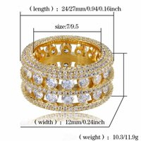 Hip Hop Bling Ring Brass Gold Silver Color Iced Out Micro Pave CZ 2 Row Bigger Width Rings Charm for Men Women Gifts Jewelry