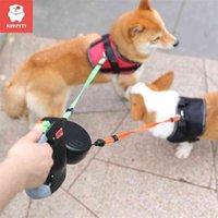 KIMMETT 3M مزدوجة رئيس الحيوانات الأليفة المقود التلقائي قابل للسحب الكلب المشي المقود الحيوانات الأليفة درج مزدوج الجر وحبل إمدادات الحيوانات الأليفة 210325