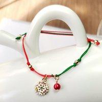 المجوهرات اليدوية بالجملة سانتا كلوز ندفة الثلج الأيائل شجرة عيد الميلاد المنسوجة سوار هدية الحالية