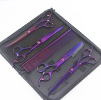 """7"""" Purple Professional 6PCS Pet Grooming Scissors Shears Kit Dog Hair Curved Trimmer Pet Hairdressing Beauty Accessories DDA5385"""