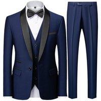 Men's Suits & Blazers Men Mariage Color Block Collar Jacket Trousers Waistcoat Male Business Casual Wedding Coat Vest Pants 3 Pieces Set