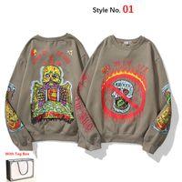 고품질 남성의 후드 스웨터 캐주얼 트렌디 한 라운드 넥 인쇄 남성과 여성을위한 수 놓은 풀오버 스웨터 KY0101