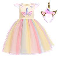 Christmas Girls Unicorn Dress Costume Kids Halloween Ball Gown Fancy Dresses Cosplay Birthday Unicorn Party Princess Clothing