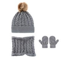 Baby Hats Newborn Caps Toddler Hat Girls Boys Infant Cap Autumn Winter Warm Wool Knitted Beanie Scarf Gloves 3Pcs Set 0-3T B8725