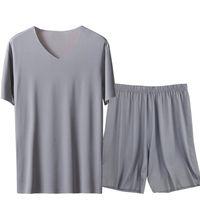 Eis Seide Männer Solide Pyjamas Set Kurzarm Sommer Nachtwäsche Homewear Plus Größe 3XL 4XL Männlich Pijama Pyjamas Anzug Lose Nachtwäsche 210901