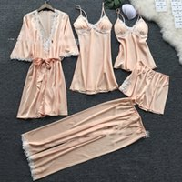 Lace Edge Woman Lingeries Set Pajamas Panties Underwaist 5pcs Lady Sexy Silk Sleepwear Home Fashion Flare Sleeve 32tc G2