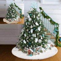 Christmas Decorations Snow Plush Tree Skirt Base Floor Mat Cover XMAS Merry Ornament Santa Claus Deer Felt