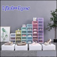 Bins Housekee Organization Home & Garden3 Pack Clear Plastic Shoe Box Dustproof Sneaker Storage Organizer Transparent High Heels Boxes Candy