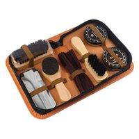 Armoire de vêtements Stockage 7pc / Set Chaussures Kit de soin portable pour bottes Sneakers Set de nettoyage Polonais Brosse Cuisine Cuir Tool de polissage